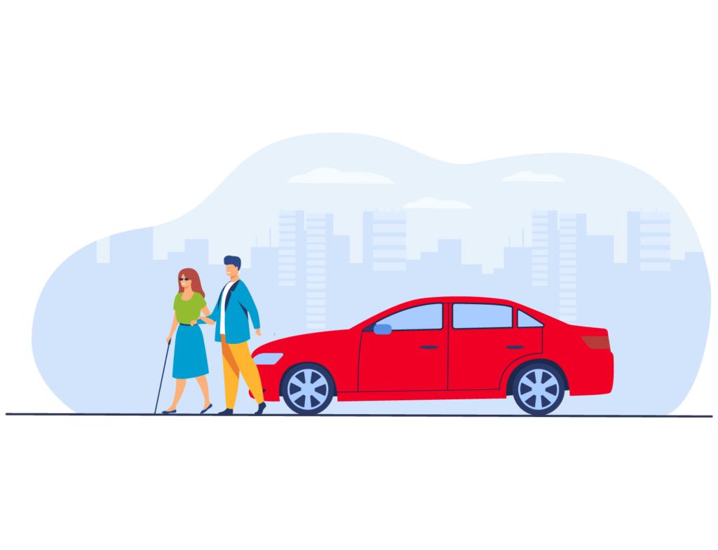 Illustrazione grafica di un'accompagnatore con una persona cieca che camminano in città dopo aver parcheggiato la loro auto.