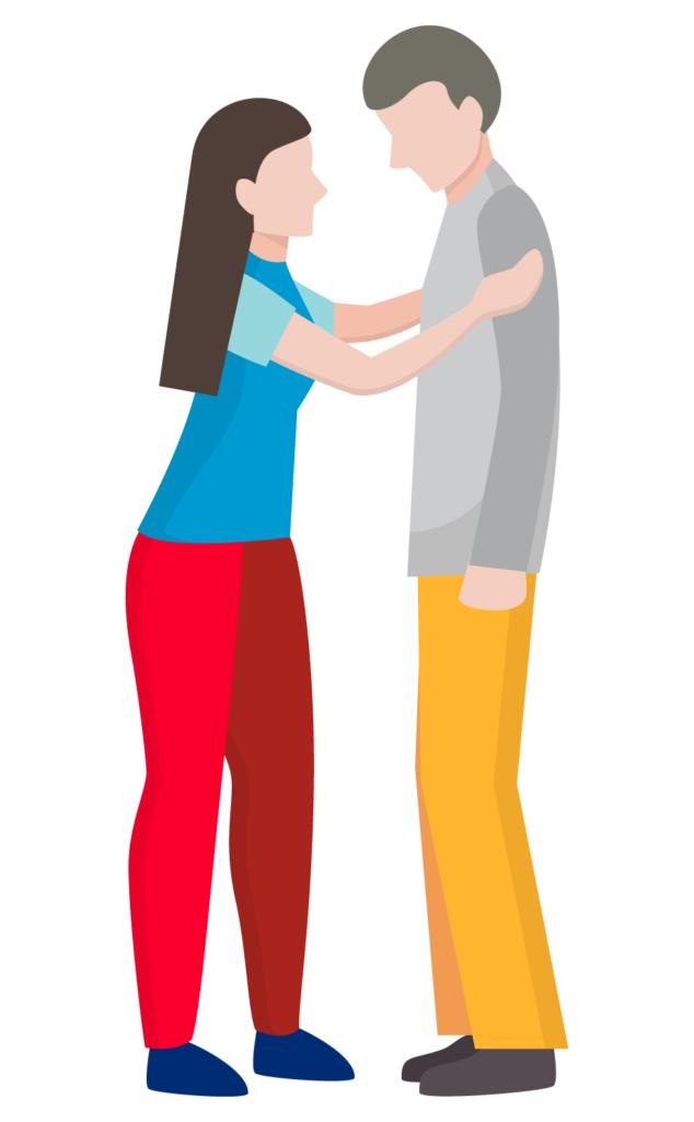 Illustrazione grafica di una donna abbraccia e rincuora un uomo triste
