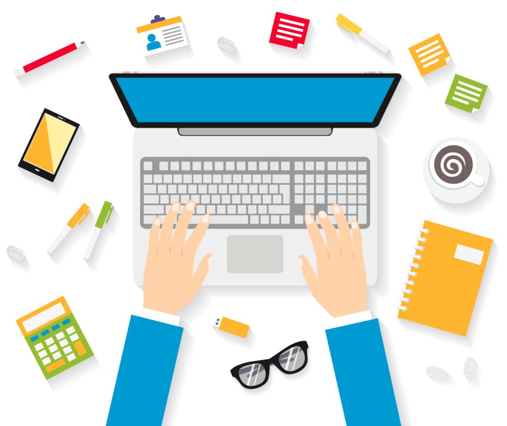 Illustrazione grafica di una postazione di lavoro con computer