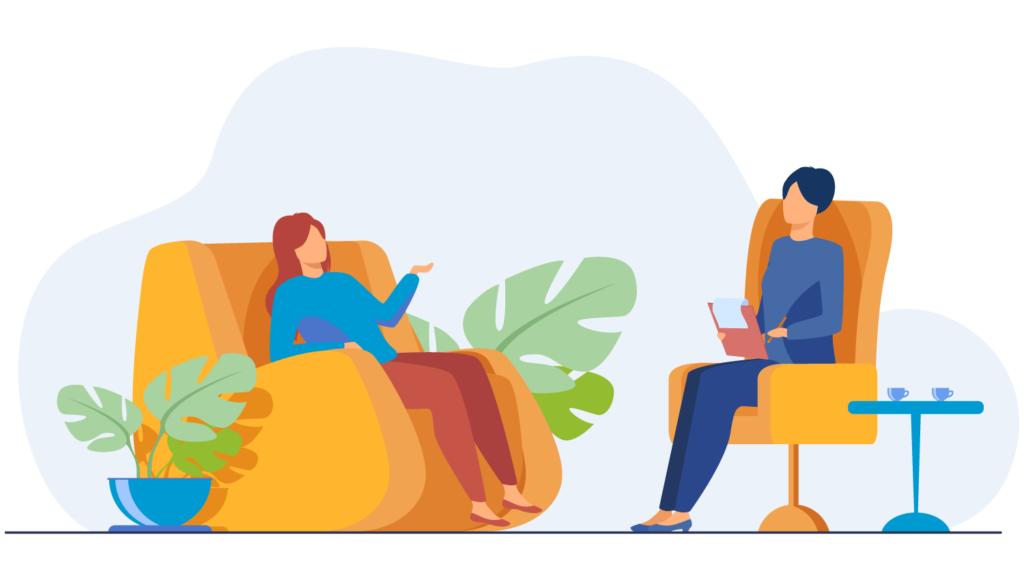Illustrazione grafica di una persona seduta che si confronta con una psicologa