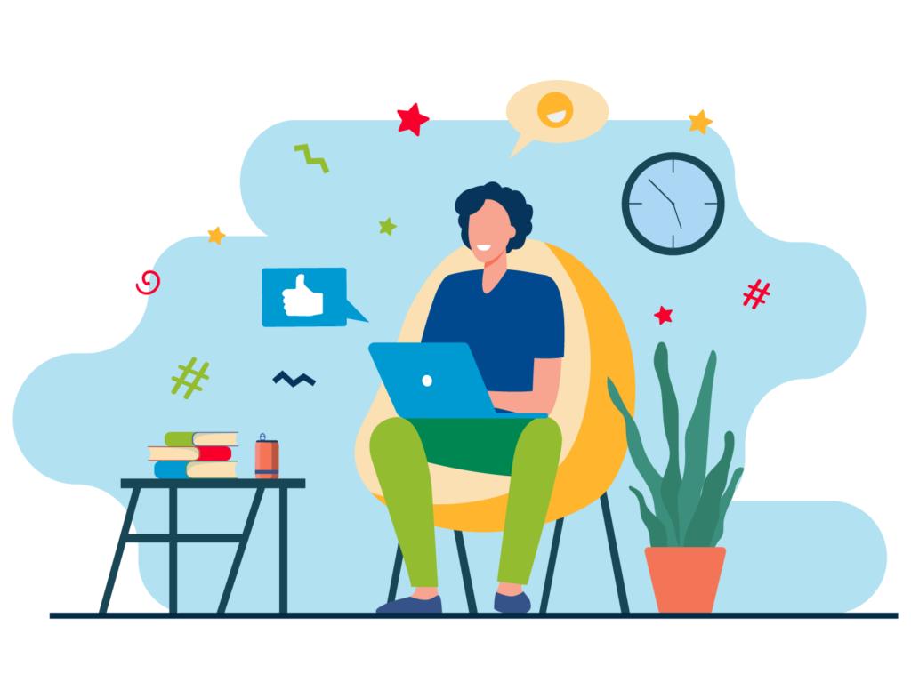 Illustrazione grafica di un ragazzo che lavora al computer