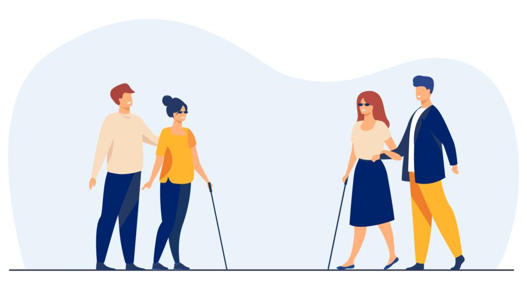 Illustrazione grafica di una persona cieca e del suo accompagnatore