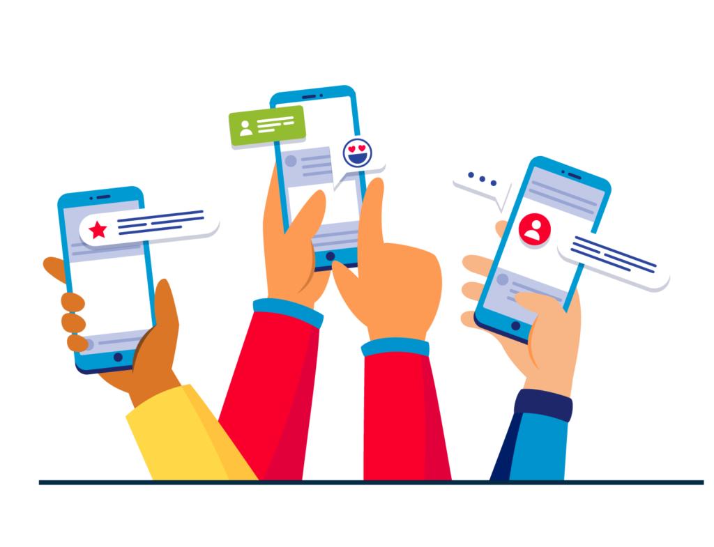 Illustrazione grafica di persone che utilizzano lo smartphone