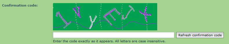 Un esempio di codice captcha di tipo visivo all'interno di un sito web