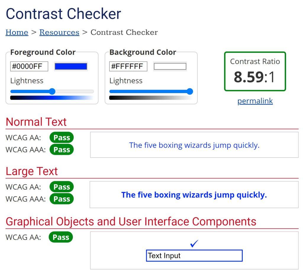 La finestra di verifica contrasto di WebAIM.